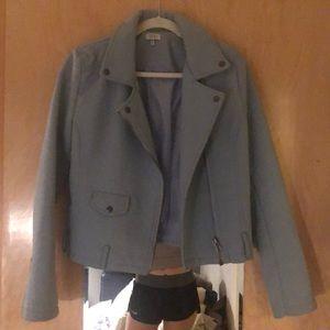 Perfect fall blue vegan leather jacket